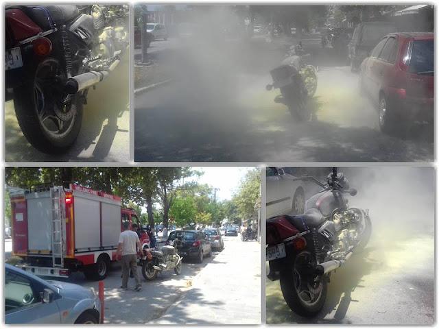 Φωτία σε μηχανάκι στο κέντρο της Ηγουμενίτσας (+ΒΙΝΤΕΟ)