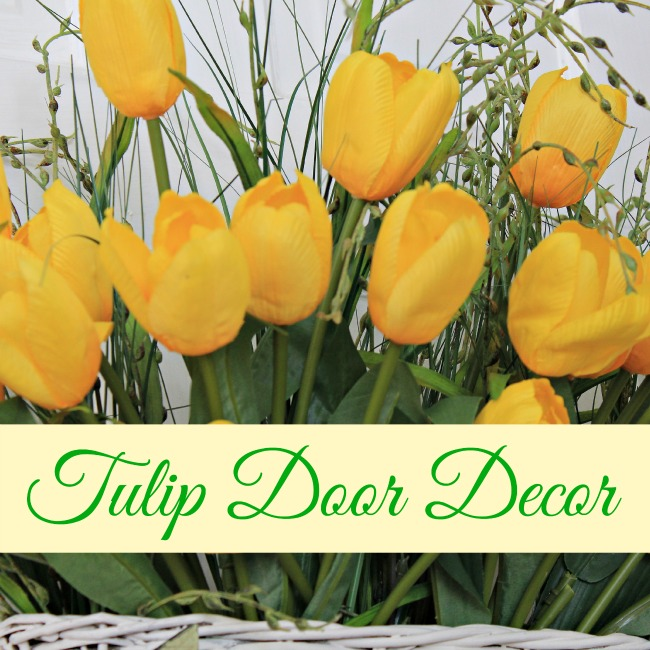 Yellow tulips to welcome Spring on your front door.