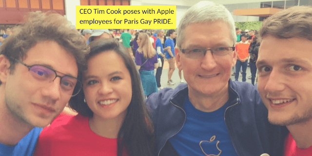 CEO Tim Cook poses with Apple employees for Paris Gay Pride in France.