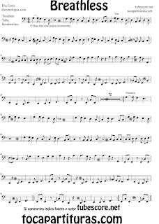 Partitura de Breathless para Trombón, Tuba y Bombardino. Partitura de The Corrs (Music Score, Breathless Trombone, Eupohium, Tube Elicon Sheet Music)