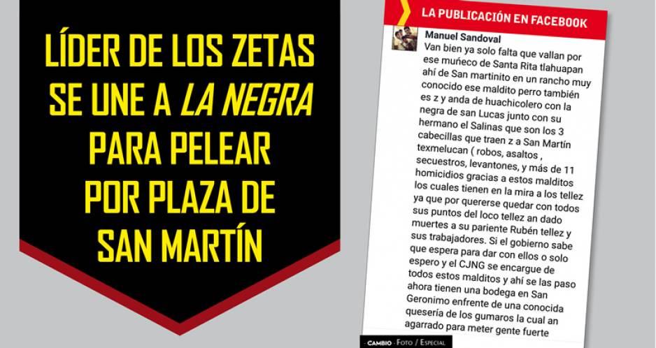 Líder de Los Zetas se une a La Negra para pelear por plaza de San Martín
