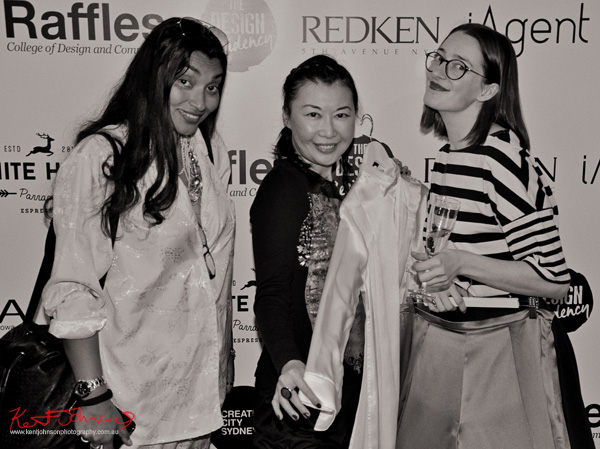 Bloggers Dusk Devi with Vivienne Shui and designer Anne de la Motte, Raffles Fashion Designers at The Design Residency
