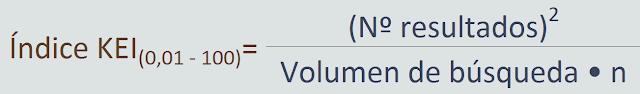 """Un índice KEI entre 0,01 y 100 es igual al numero de resultados al cuadrado entre el volumen de búsquedas por un valor """"n"""" de ajuste"""