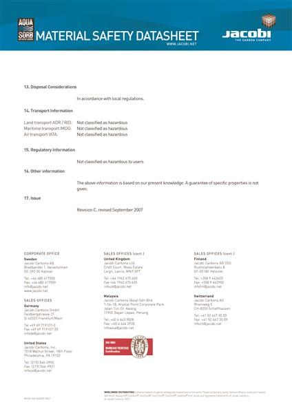 Material Safety Data Sheet (MSDS) Karbon Aktif Jacobi