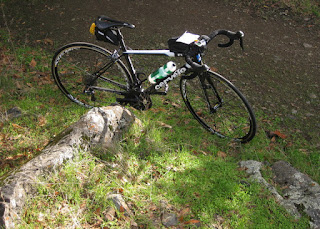 pep's bike in the sunshine, viewed from above, El Sereno Open Space Preserve, near Los Gatos, California