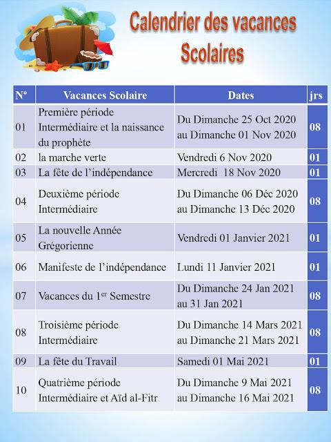 Calendrier des vacances scolaire 2020-2021