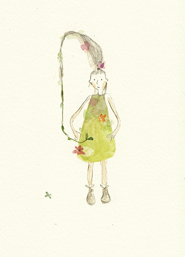 whimsical girl art, whimsical illustration by Vicky Alvarez