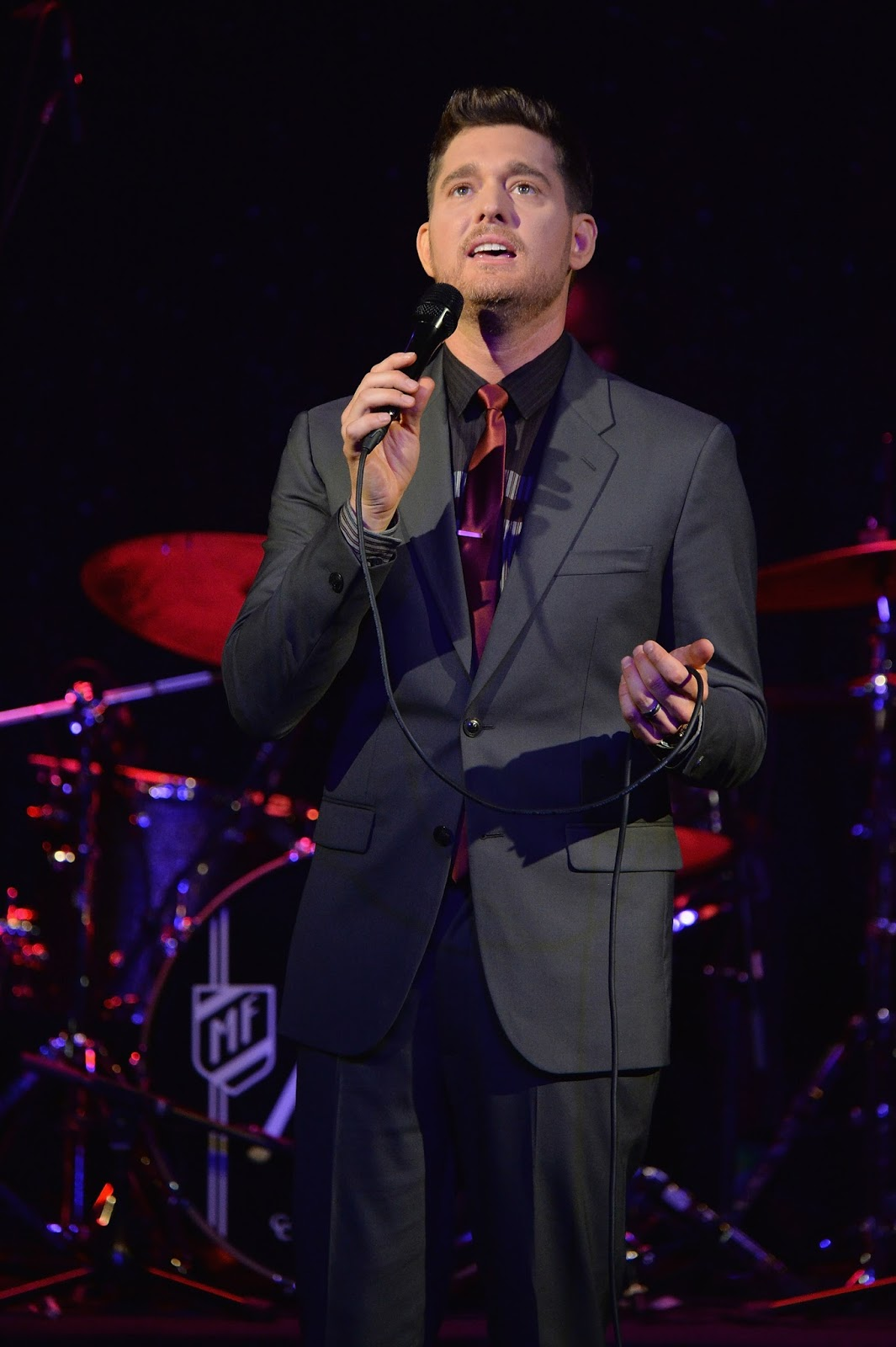 Michael Buble, By Invitation perfume launch in New York performing