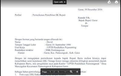 Contoh Surat Permohonan Mendapatkan SK Bupati