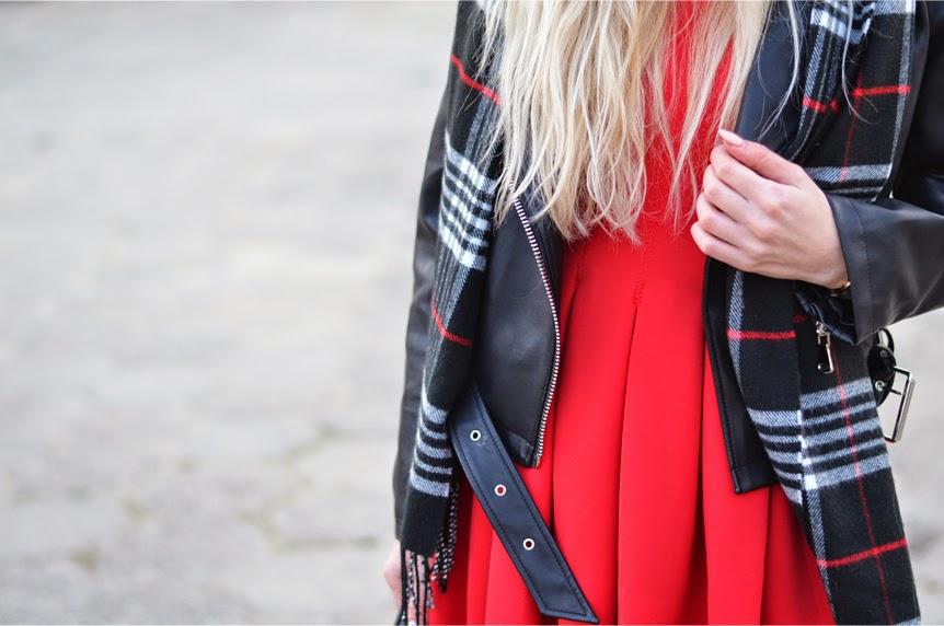 RED NEOPRENE DRESS, TARTAN SCARF & BIKER JACKET