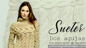 Suéter con trenzas para tejer con dos agujas