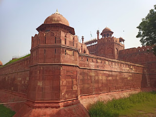 Close up of rampart of Red Fort or Lal Qila in Delhi