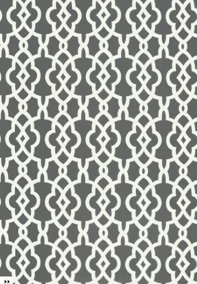 Gray fretwork trellis patterned wallpaper