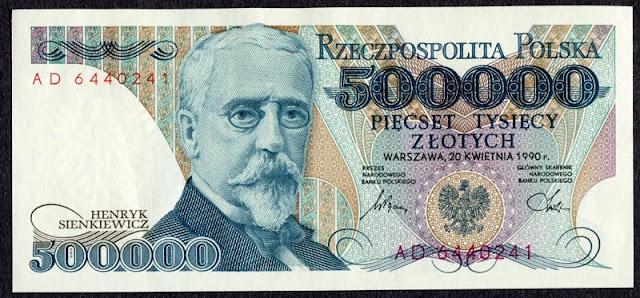 Poland currency Polish banknotes 500000 Zloty Zlotych Sienkiewicz banknote