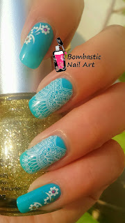 lace nail art with water decal