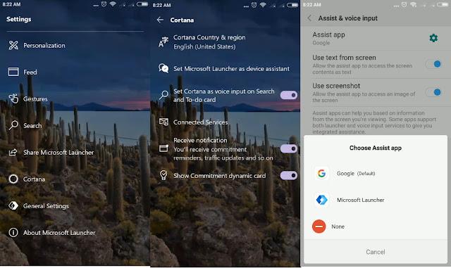 Cortana Microsoft Launcher