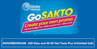 GOCOMBOIKEA48  1GB Data and 20 All Net Texts Plus Unlimited Calls