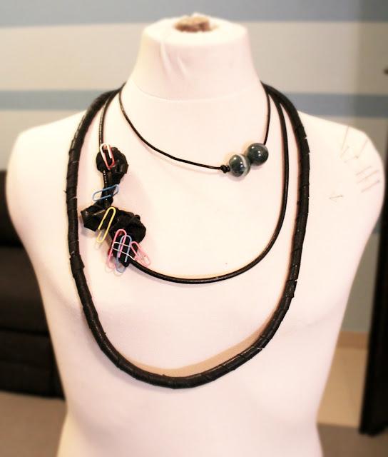 naszyjnik z recyklingu ze skóry, blog DIy zrób to sam, inspiracje projekty, biżuteria z recyklingu, design, sztuka, artystyczna biżuteria, artystka blog design szczecin
