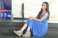 Divya Nandini stunning Beauty in blue Dress at Trendz Exhibition Launch ~  Celebrities Galleries 032.JPG