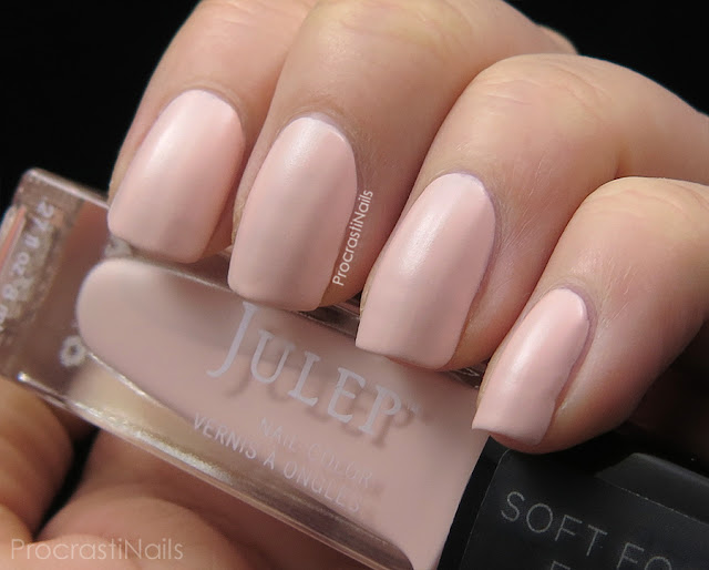 Swatches of Julep's semi-matte peach polish Janet