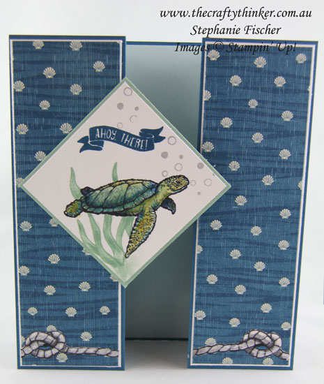 Double Gate Fold, Masculine Card, From Land To Sea, Seaside Shore, Stampin Up Australia Demonstrator, Stephanie Fischer, Sydney NSW, Fun Fold, #thecraftythinker