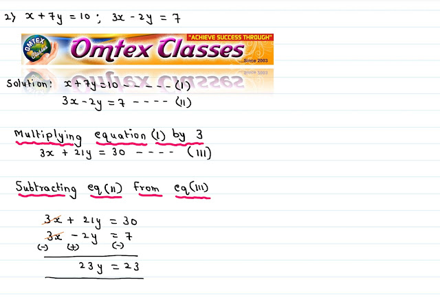 Solve the following simultaneous equations x + 7y = 10; 3x - 2y = 7 [Solution Click Here]