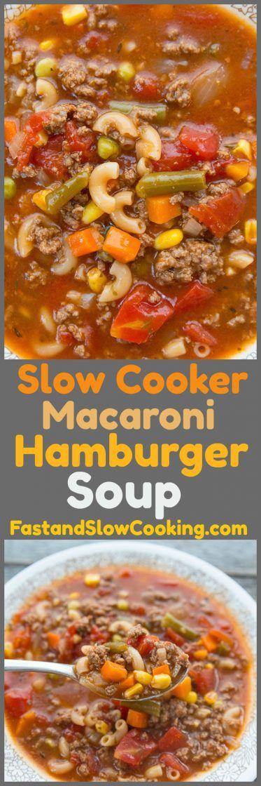 Slow Cooker Macaroni Hamburger Soup Recipe