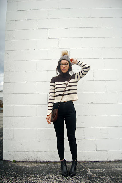 Sweater Black Jeans Beanie Boots