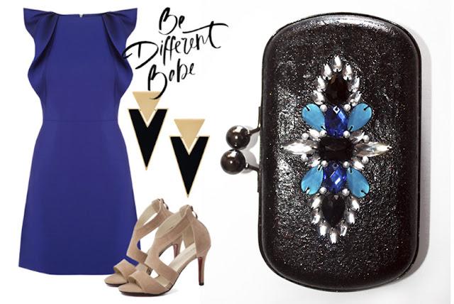 Invitada a boda con vestido azul electrico, complementos