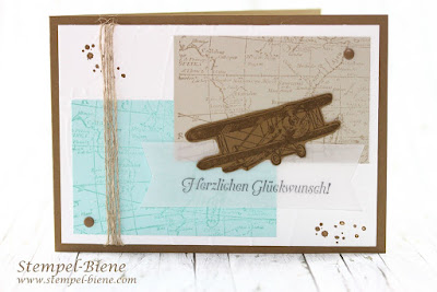 Glückwunschkarte Pilotenschein; Glückwunschkarte Flugschein; Karte für Piloten; Flugzeugkarte; Reisekarte basteln; stampinup worldmap; stampinup Hoch hinaus; stampinup Sale a bration 2016; stempel-biene
