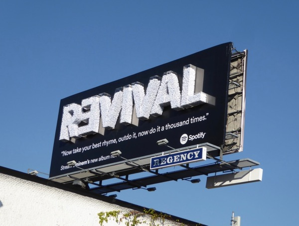 Eminem Revival Spotify 3D installation billboard