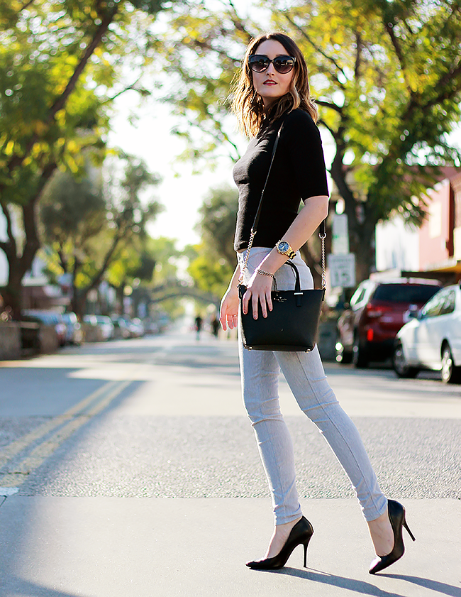 A Good Hue Style: Uniqlo Legging Pants, Black Top, Black Heels