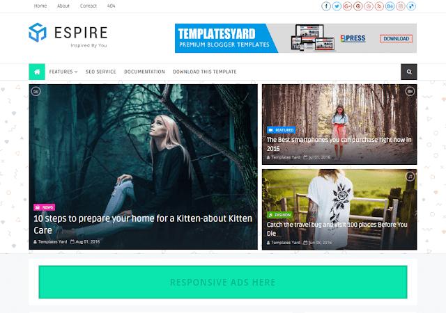 Download Free Premium Espire Stylish Blogger Template