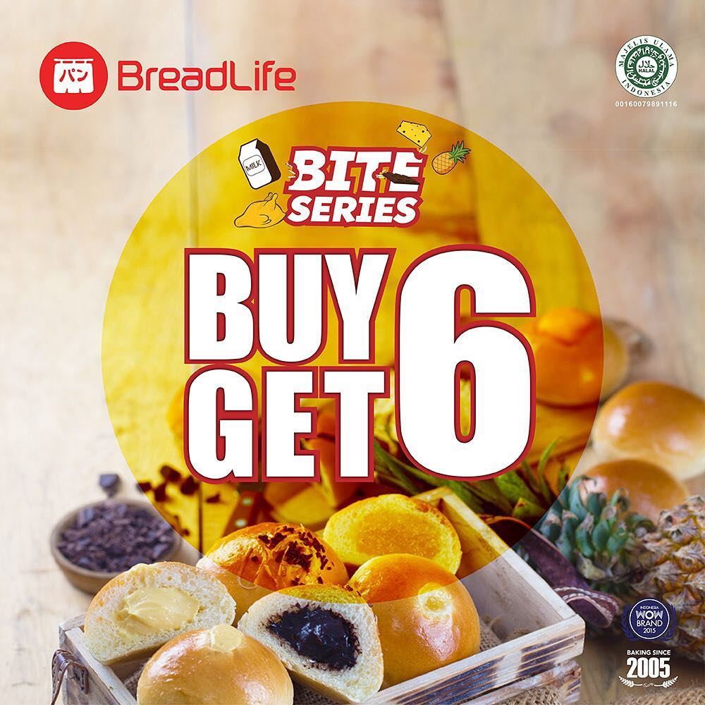 #BreadLife - Promo Bite Series Buy 6 Get 6 Pakai LINE Promo (s.d 16 Jan 2019)