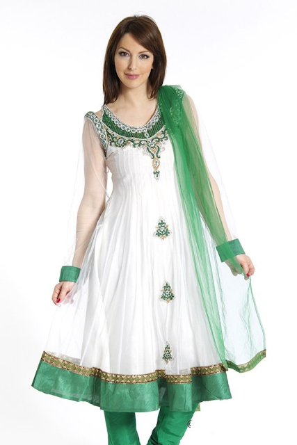Green-and-White-Frock-Dress