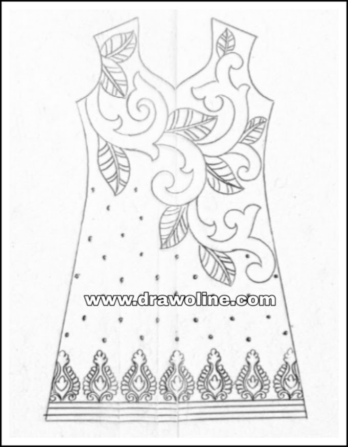 How to draw dress design for embroidery/latest dress design patterns 2019 for hand emroidery