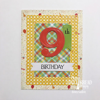 Our Daily Bread Designs Stamp Set: Celebration, Custom Dies: Large Numbers, Circle Scalloped Rectangles, Pierced Rectangles, Pennant Flags, Paper Collections:Birthday Bash, Birthday Brights