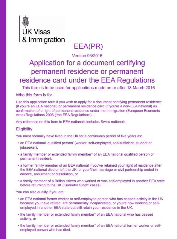 Londres Comunitario: EEA (PR) Certificado de Residencia Permanente