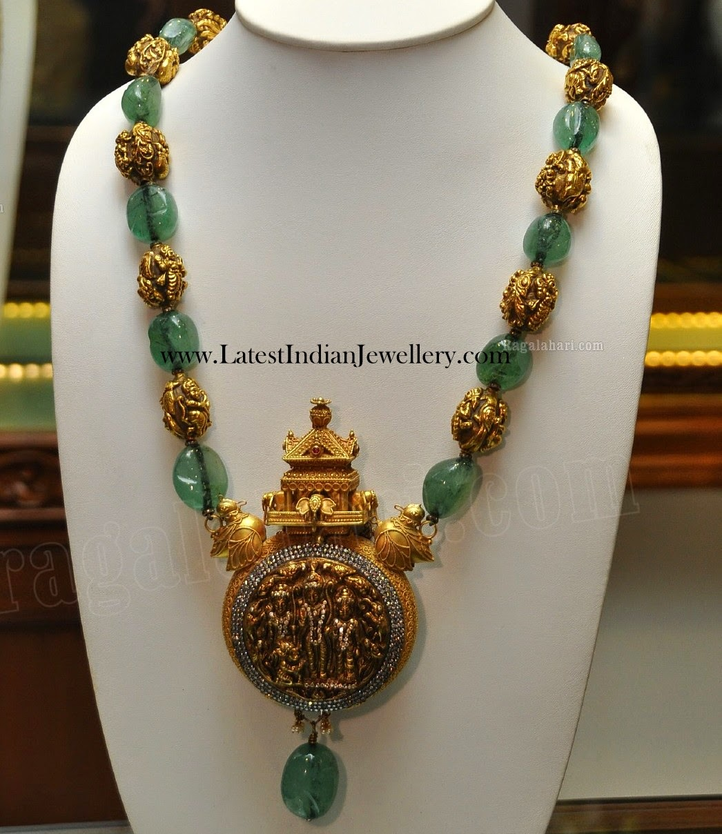 Emerald And Antique Gold Beads Necklace Latest Indian
