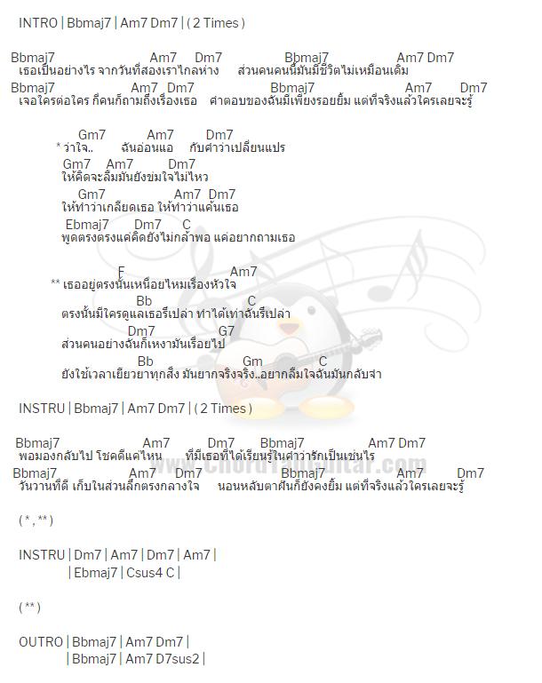 คอร์ดเพลง เหนื่อยไหมหัวใจ - Retrospect feat. ว่าน วันวาน