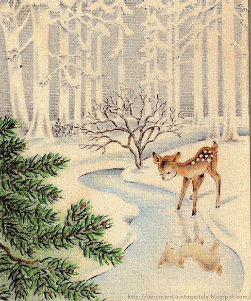 Merry Vintage Syle Deer Illustrations
