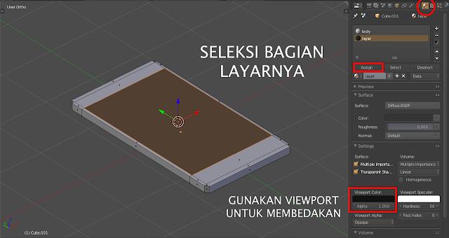 Pemisahan bagian model smartphone