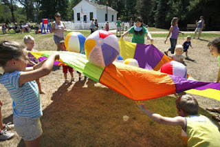 Kids Parachute Games on the Beach