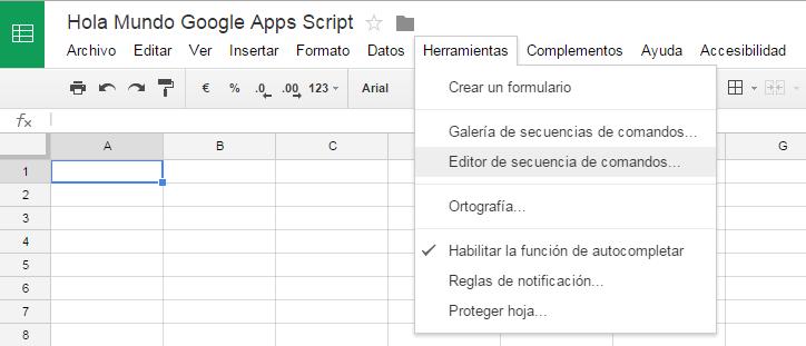 Como entrar en el editor de código de un spreadsheet