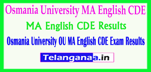 Osmania University MA English CDE Exam 2018 Results Download
