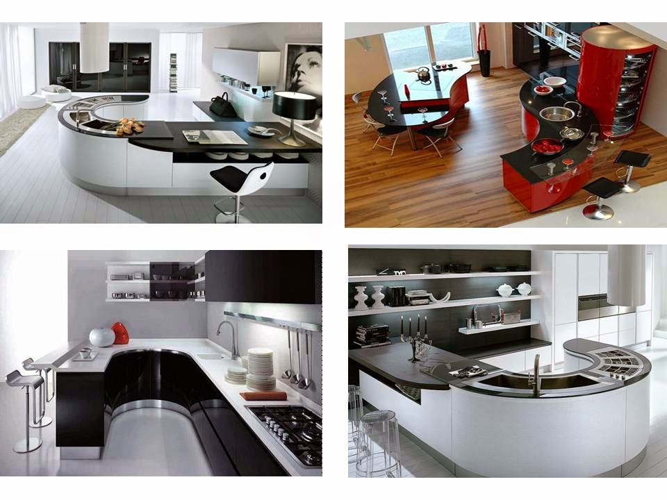 stunning black curved kitchens