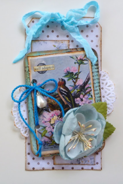 Blue Mixed Media Floral Tag by Dana Tatar for Inkido