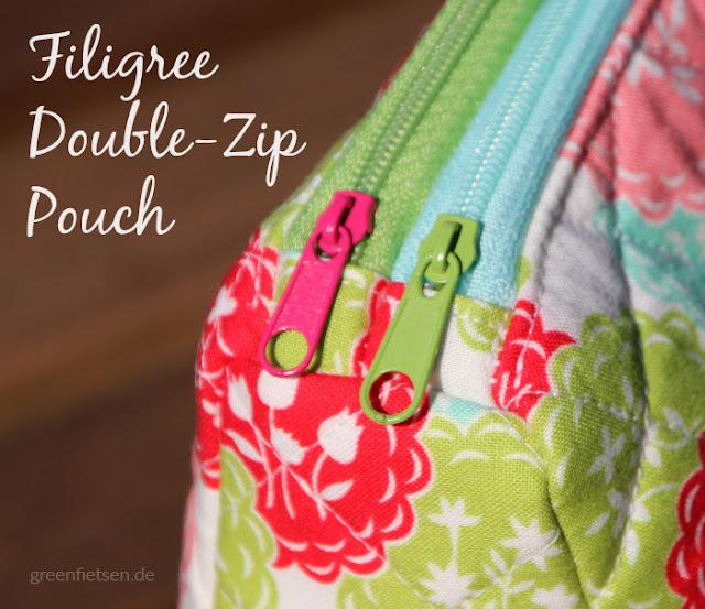 Filigree Doppelreißverschluss-Täschchen nach dem Schnitt von Sew Sweetness