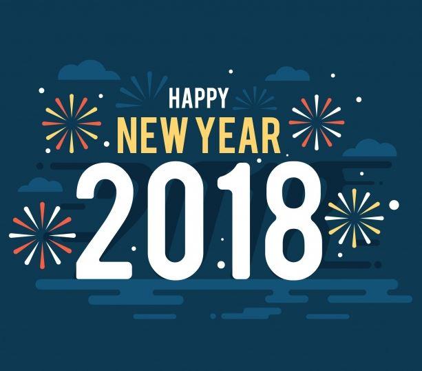 gelukkig nieuwjaar 2018 achtergrond met vuurwerk in plat ontwerp