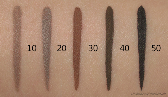 Make Up For Ever MUFE Brow Liners 10 20 30 40 50 Swatches